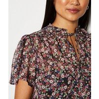Petite Black Floral Chiffon Blouse New Look