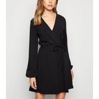 JDY Black Tie Waist Wrap Dress New Look