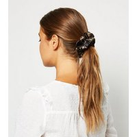 Black Floral Jacquard Scrunchie New Look