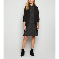 JDY Black Spot Long Sleeve Shirt Dress New Look