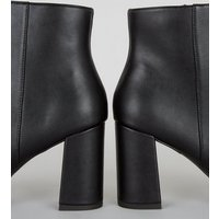 Black Leather-Look Contrast Toe Heeled Boots New Look