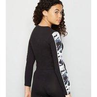 Girls Black Camo Oakland Slogan Top New Look