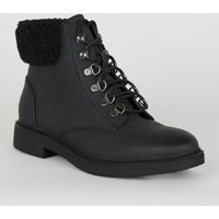 Girls Black Teddy Trim Lace Up Boots New Look