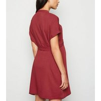 Maternity Burgundy Belted Tunic Dress New Look