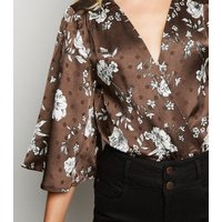 Blue Vanilla Brown Satin Floral and Spot Bodysuit New Look