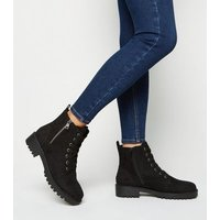 Wide Fit Black Teddy Lined Chunky Lace Up Boots New Look Vegan