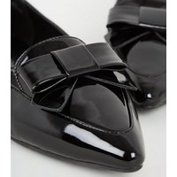 Black Patent Bow Pointed Toe Loafers New Look Vegan