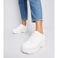 White Leather-Look Chunky Lace Up Trainers New Look Vegan