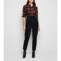 Black Tie High Waist Balloon Jeans New Look