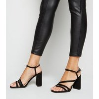 Black Square Toe Strappy Block Heels New Look