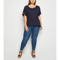Apricot Curves Navy Button Shoulder T-Shirt New Look