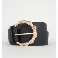 Black Oversized Metal Bamboo Buckle Belt New Look
