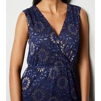 Mela Navy Metallic Lace Wrap Maxi Dress New Look