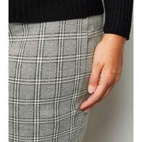 Curves Light Grey Check Tube Skirt New Look