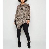 Blue Vanilla Curves Brown Zebra Print Cowl Neck Top New Look