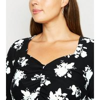 Blue Vanilla Curves Navy Floral Ruched Dress New Look