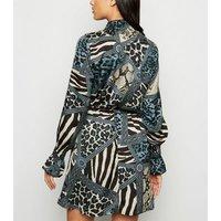 AX Paris Blue Mixed Animal Print High Neck Dress New Look