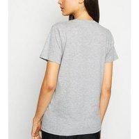 Grey Marl Diamanté Heart Amour Slogan T-Shirt New Look