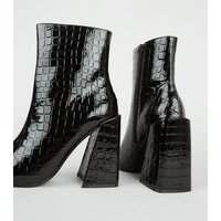 Black Faux Croc Flared Block Heel Boots New Look Vegan