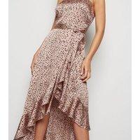 Brown Spot Ruffle Satin Wrap Midi Dress New Look