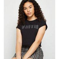 Girls Black Too Cute Slogan T-Shirt New Look
