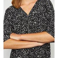 Black Spot Zip Front Oversized Top New Look