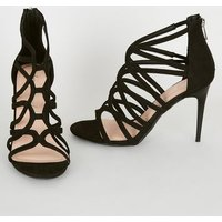 Black Suedette Swirl Strappy Stilettos New Look