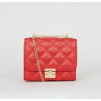 Red Quilted Leather-Look Shoulder Bag New Look