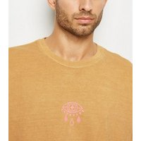 Mustard Overdyed Eye Motif T-Shirt New Look
