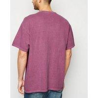 Plum Overdyed Hand Moon Motif T-Shirt New Look