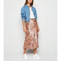Innocence Pink Floral Aztec Satin Midi Skirt New Look