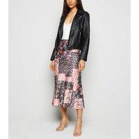 Innocence Multicoloured Floral Satin Midi Skirt New Look