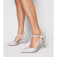Wide Fit Silver Glitter 2 Part Court Shoes New Look Vegan