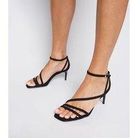 Wide Fit Black Suedette Strappy Stilettos New Look Vegan