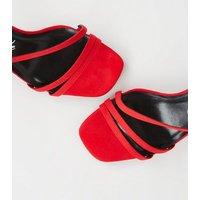 Wide Fit Red Suedette Strappy Stilettos New Look Vegan