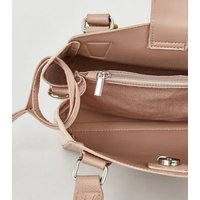 Pale Pink Leather-Look Tote Bag New Look