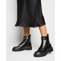 Black Faux Croc Chunky Lace Up Boots New Look