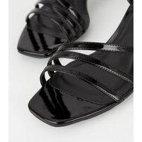 Black Patent Strappy Slim Block Heel Sandals New Look Vegan