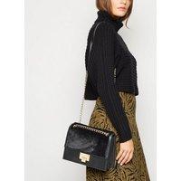 Black Faux Fur Chain Shoulder Bag New Look