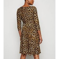 Blue Vanilla Brown Leopard Print Cowl Neck Dress New Look
