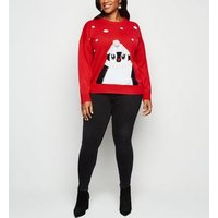 Curves Red Matching Family Penguin Christmas Jumper New Look