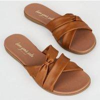 Tan Leather-Look Bow Footbed Sliders New Look Vegan