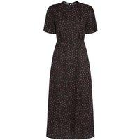 Black Spot Print Split Hem Midi Dress New Look