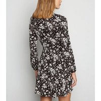 Black Ditsy Floral Long Sleeve Dress New Look