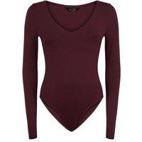 Plum Long Sleeve V Neck Bodysuit New Look