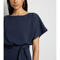 Navy Batwing Belted Midi Dress New Look