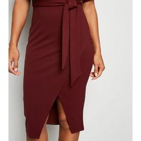 Burgundy Batwing Belted Midi Dress New Look