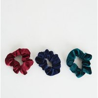 3 Pack Multicoloured Velvet Scrunchies New Look