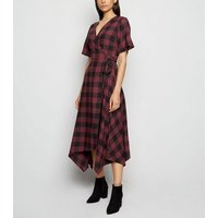 Innocence Red Check Wrap Midi Dress New Look