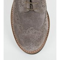 Grey Suede Lace Up Chunky Brogues New Look